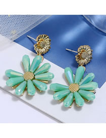 Fashion Green Crystal Daisy Alloy Stud Earrings
