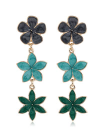 Fashion Green Flower Dripping Alloy Contrast Color Earrings