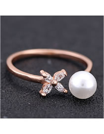 Fashion Rose Gold Pearl Diamond Flower Alloy Open Ring