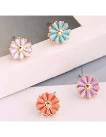 Fashion Color Mixing Oil Dropping Daisy Alloy Contrast Color Stud Earring Set