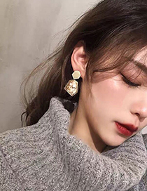 Fashion White Geometry Oil Drop Alloy Earrings With Crushed Stone