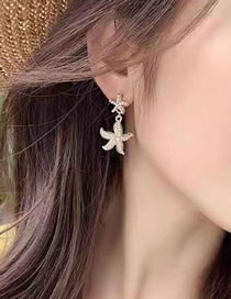 Fashion Golden Alloy Starfish Pearl Earrings