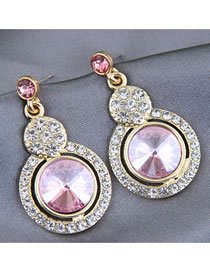 Fashion Pink Alloy Earrings With Round Diamonds