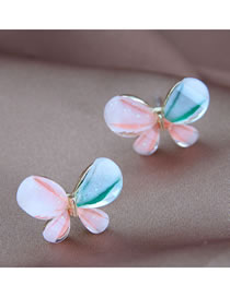 Fashion Color Mixing Butterfly Alloy Contrast Color Stud Earrings