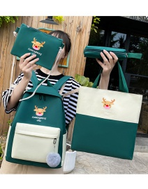 Fashion Dark Green Fawn Print Four-color Contrast Backpack