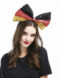 Fashion Black Yellow Red Large Bowknot Sequins Stitching Contrast Color Headband