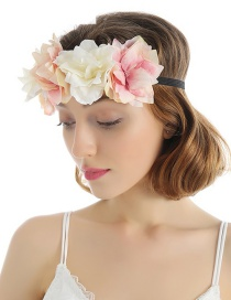 Fashion White Pink Simulation Flower Fabric Contrast Color Hair Band