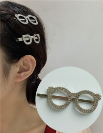 Fashion Round Glasses Clip Full Diamond Glasses Geometric Hollow Alloy Hairpin