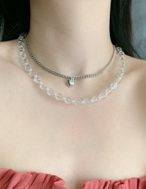 Fashion White Resin Crystal Beaded Love Alloy Multilayer Necklace