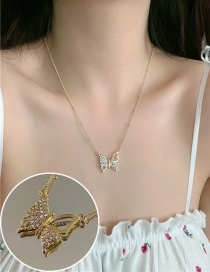 Fashion Golden Diamond Alloy Butterfly Necklace