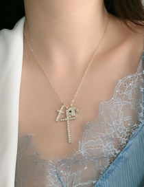 Fashion Golden Cross Necklace With Diamond Smiley Face