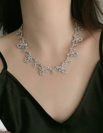 Fashion Silver Diamond Lace Geometric Alloy Hollow Necklace