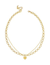 Fashion Golden Love Thick Chain Alloy Hollow Multi-layer Necklace