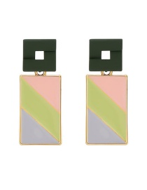 Fashion Color Acrylic Contrast Color Alloy Rectangular Earrings