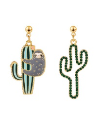 Fashion Green Asymmetric Hollow Diamond Drop Cactus Earrings