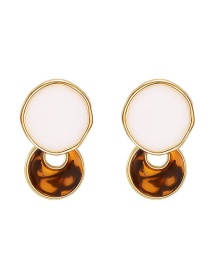 Fashion Color Alloy Ring Resin Hollow Earrings