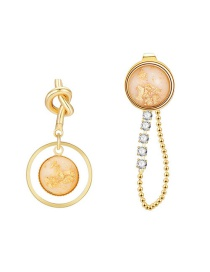 Fashion Golden Alloy Asymmetric Resin Diamond Knotted Earrings