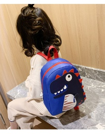 Fashion Blue Little Dinosaur Stitching Contrast Color Childrens Backpack