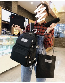 Fashion Black Four-piece Letter Label Stitching Backpack