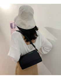 Fashion Black Solid Color Flip Shoulder Bag