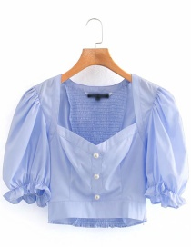 Fashion Blue Faux Pearl Button Puff Sleeve Short Top