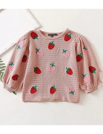 Fashion Pink Strawberry Embroidered Puff Sleeve Sweater