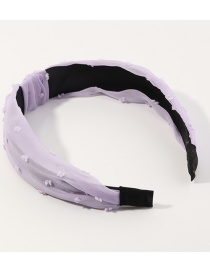 Fashion Purple Mesh Yarn Wave Point Knotted Wide-brimmed Headband
