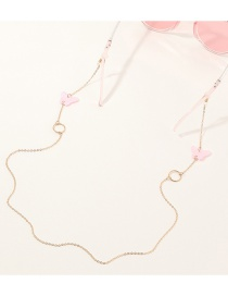 Fashion Pink Resin Butterfly Circle Alloy Eye Chain