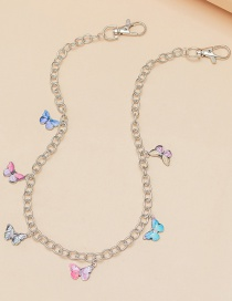 Fashion Color Mixing Alloy Dripping Butterfly Contrast Color Waist Chain