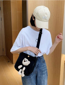 Fashion Black Stuffed Bear Canvas Shoulder Bag