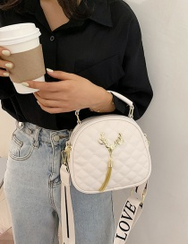 Fashion White Fawn Wide Shoulder Strap Tassel Letter Shoulder Bag