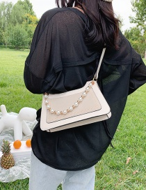 Fashion White Contrast Contrast Pearl Chain Shoulder Bag