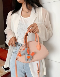 Fashion Orange Stitching Contrast Shoulder Bag