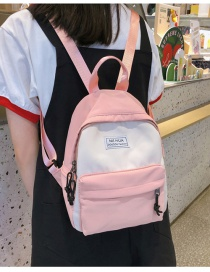 Fashion Pink Nylon Stitching Contrast Letter Backpack