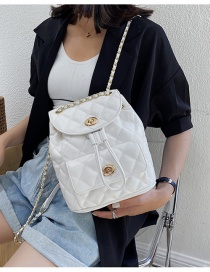Fashion White Locking Quilted Chain Drawstring Backpack