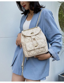 Fashion Beige Locking Quilted Chain Drawstring Backpack