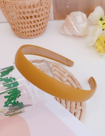 Fashion Yellow Pu Leather Thin Edge Solid Color Hair Band