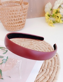 Fashion Wine Red Pu Leather Thin Edge Solid Color Hair Band