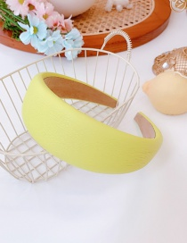 Fashion Yellow Pu Leather Wide-brimmed Sponge Solid Color Headband