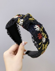 Fashion Black Embroidered Small Flowers With Wide Knotted Mesh Headband