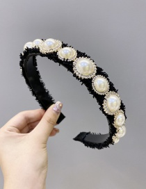 Fashion Black Large And Small Pearl Round Wide Side Non-slip Headband
