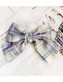 Fashion White Plaid Fabric Butterfly Combined With Blonde Clip