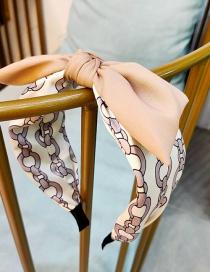 Fashion Beige Wide-brimmed Chain-print Bow Headband