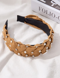 Fashion Ginger Suede Braided Pearl Stud Wide-brimmed Headband