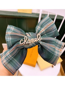 Fashion Retro Green Plaid Large Bow With Diamond Letter Hairpin