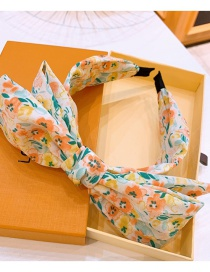 Fashion Yellow Floral Print Large Bowknot Double-layer Wide-brimmed Headband