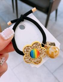 Fashion Yellow Czech Diamond Drill Rainbow Flowers Handmade Hair Rope