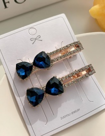 Fashion Blue Diamond Diamond Cut Butterfly Combined With Gold Hollow Hairpin Set