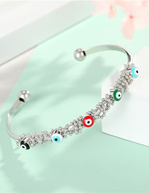 Fashion Silver Color Eye Bracelet Color Dripping Eyes With Gold-plated Diamond Opening Bracelet