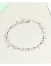Fashion Silver True Gold-plated Tassel Round Color-protecting Anklets